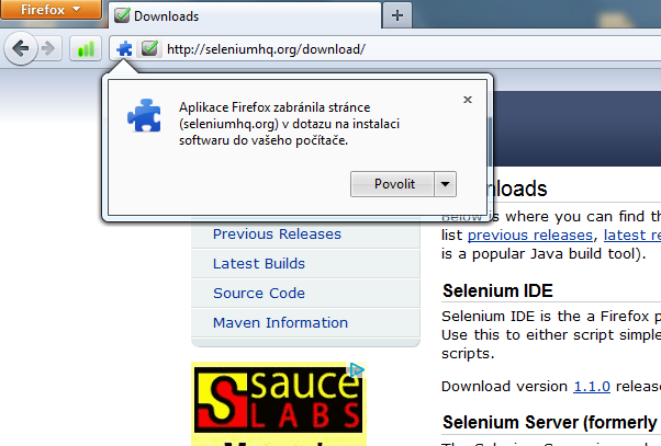 Instalace Selenium IDE